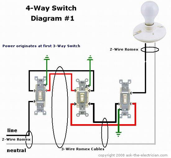 4-Way Switching Diagram in 2019 | Light switch wiring, 3 way ... on 3 wall diagram, single pole diagram, single phase diagram, 3-way electrical connection diagram, 3 line diagram, house wiring 3-way switch diagram, 220 3 phase wiring diagram, light switch wiring diagram, 3 speed switch wiring diagram, towing wiring diagram, meter socket diagram, easy 3 way switch diagram, grounding diagram, 3-way lamp wiring diagram, receptacle diagram, big bear 400 wiring diagram, three switch wiring diagram, fuse diagram, 3 light diagram,