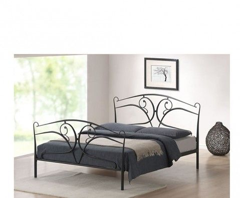 Laura 4ft6 Double Metal Swirl Design Bed Frame in Black or White