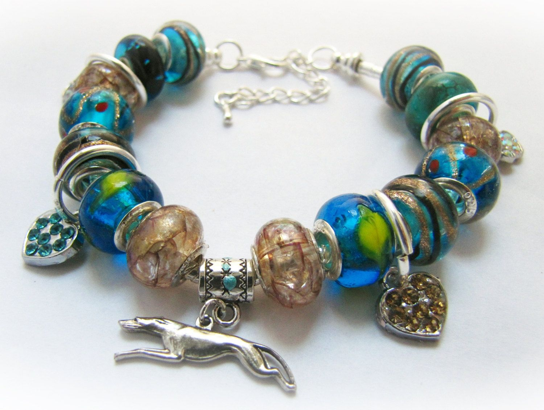 Greyhound Whippet Bracelet European Style Blue and Topaz by GreyhoundCleyhounds on Etsy