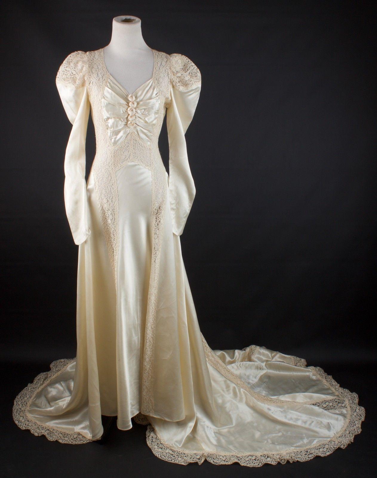 VTG 1930s XS/S AS-IS Cream Silk Wedding Dress w/ Open Lacework 30s ...