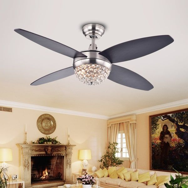 Harvin 4-Blade 2-Light Wood Satin Nickel Crystal Ceiling Fan by