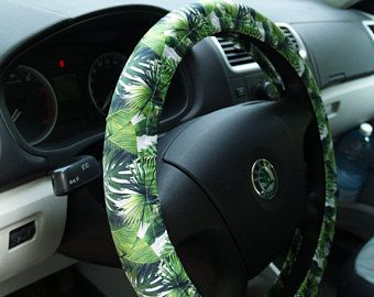 Tropical leaves steering wheel cover Beautiful car accessory Great ...