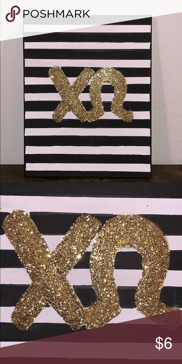 Large Chi Omega Canvas Black And White Striped With Gold Glitter Letters Perfect For Big Little Gifts Bundle Chi Chi Omega Canvas Chi Omega Big Little Gifts
