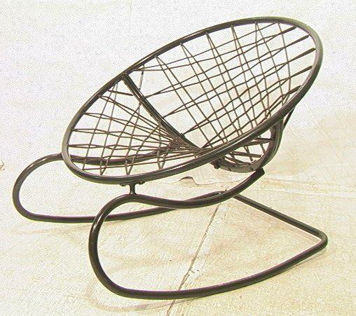 629: Green Bungee Cord Rocking Chair. Metal Circle Fra : Lot 629
