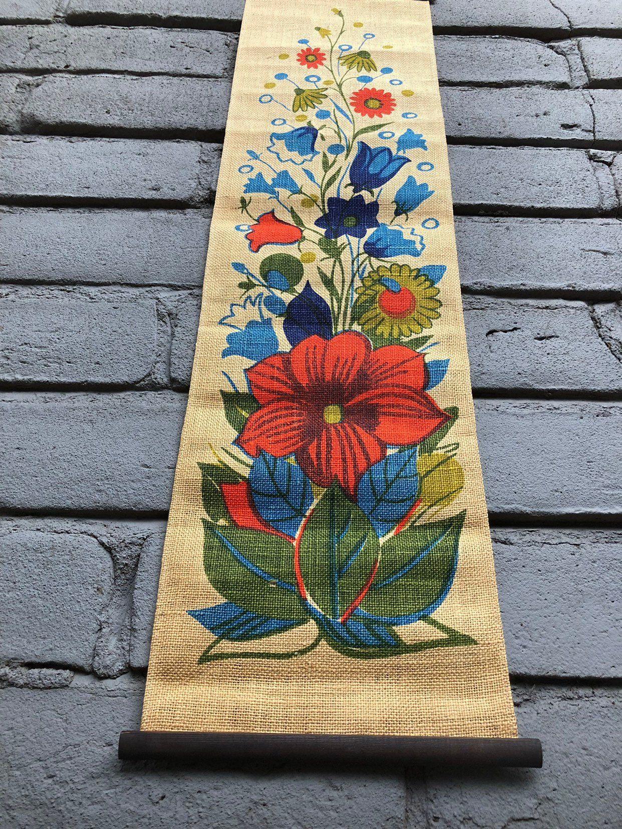 vintage scandinavian bright floral printed jute wall on wall hangings id=75389