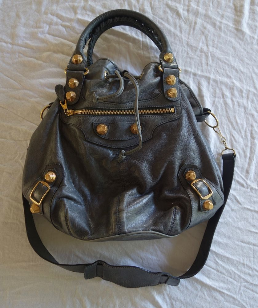 c3a2364d90 AUTHENTIC BALENCIAGA GRAY GIANT ARENA STUDDED LARGE POMPON BUCKET BAG  (SCORE!)  BALENCIAGA  Bucket