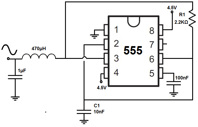 Sine wave generator circuit with a 555 timer in 2019