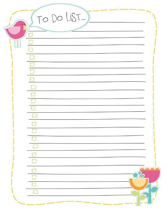 Free To Do List, Day Of The Week Printable And Shopping List