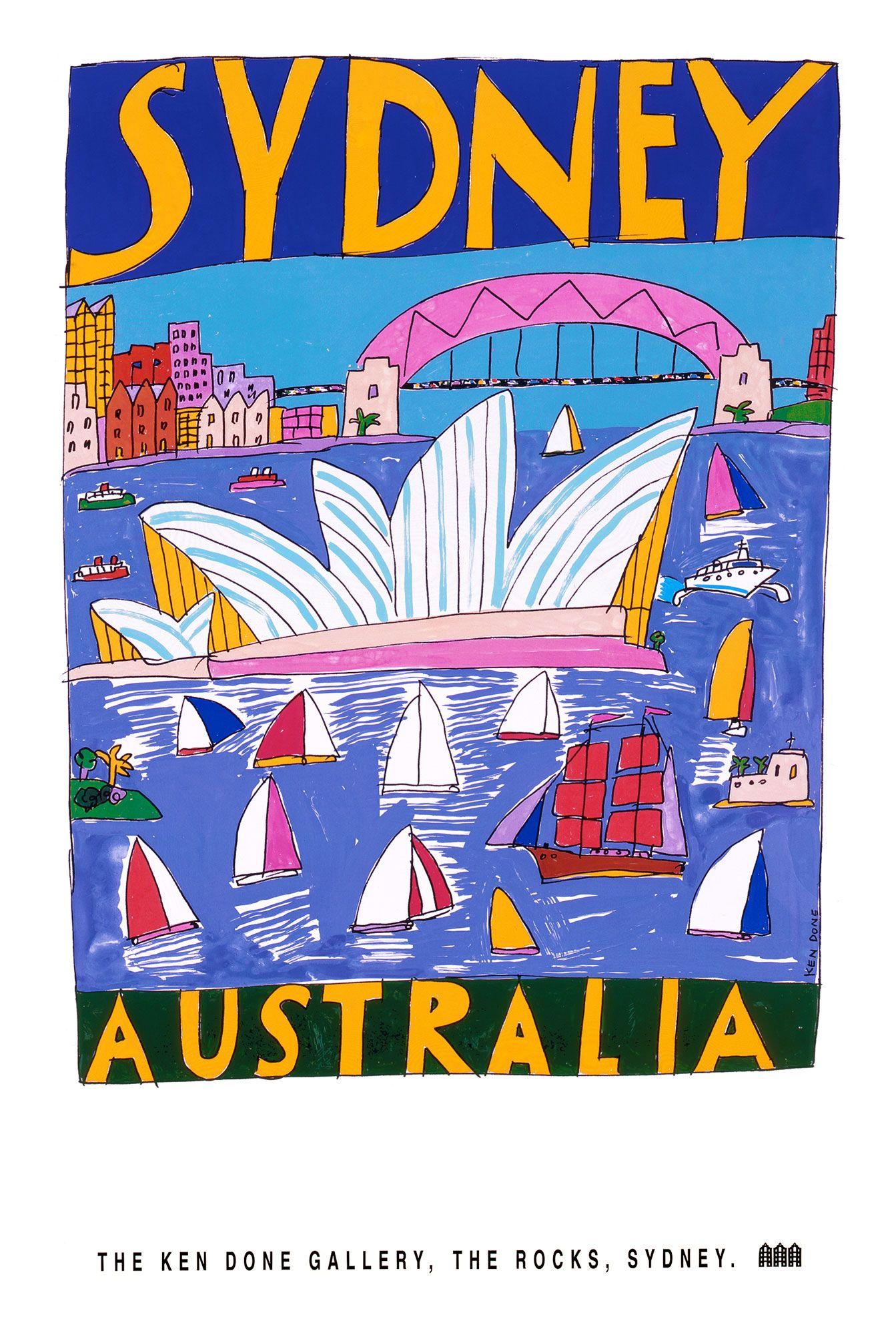 Ken Done Shop Posters Sydney Australia Retro Travel Poster Posters Australia Kendo