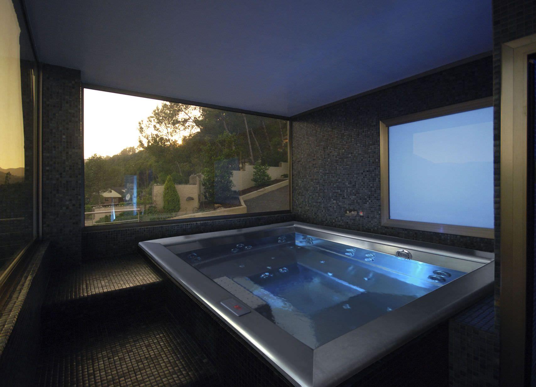 Built-in hot tub / rectangular / 2-seater / stainless steel - Inbeca ...