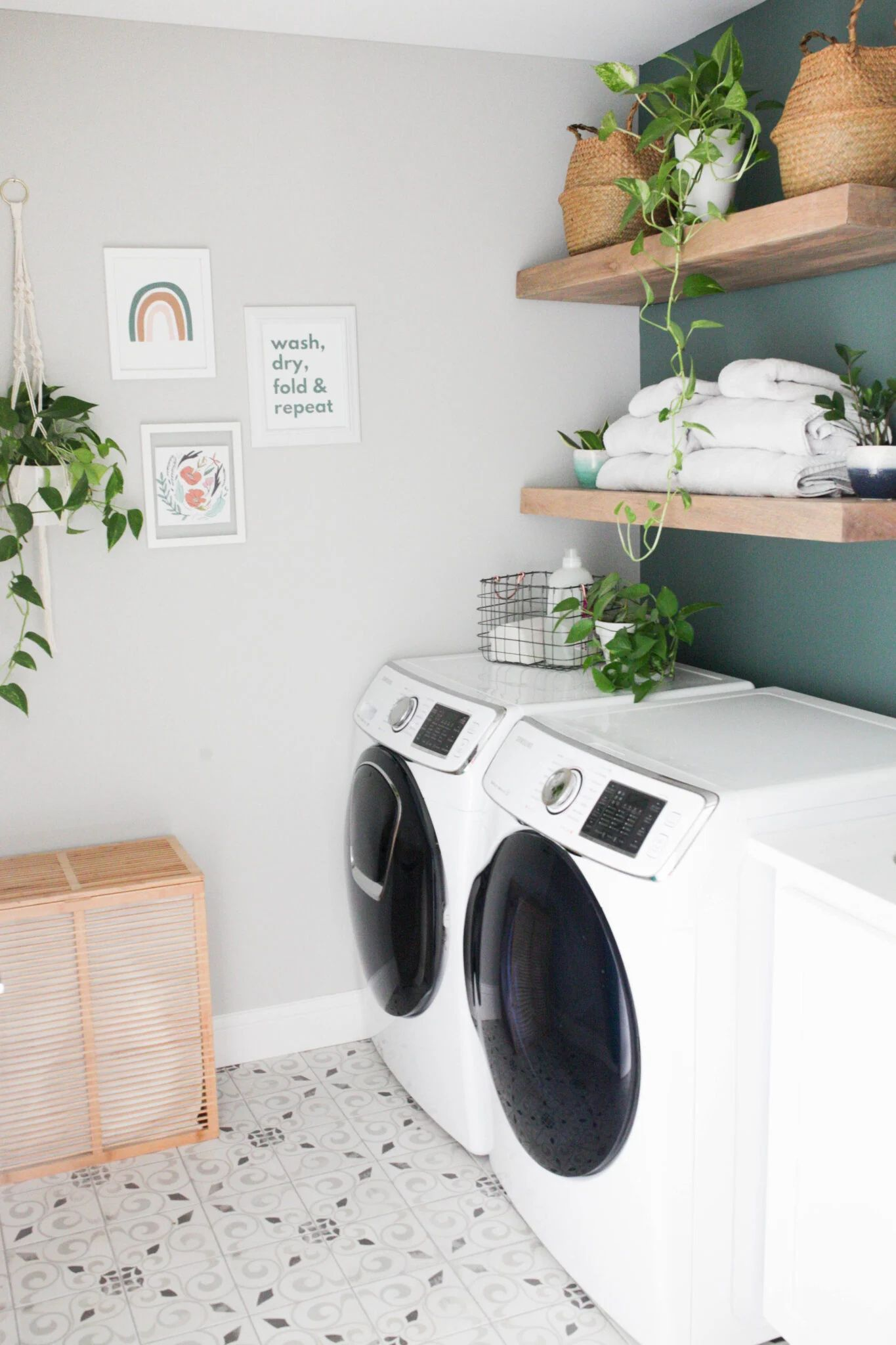 Laundry Room With Floating Shelves Paisley Sparrow Laundry Room Flooring Budget Laundry Room Makeover Laundry Room Paint