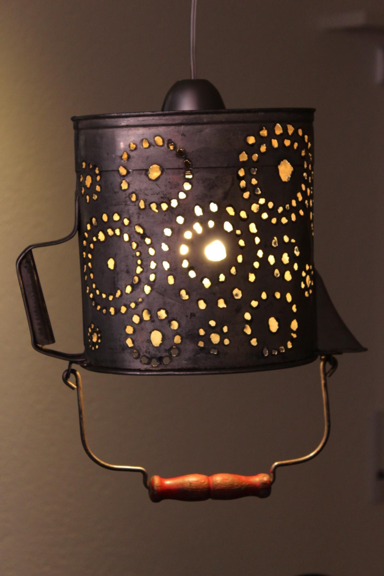 kanne mit plasmaschneider zu deckenlampe umgebaut old can repurposed as lamp with plasmacut. Black Bedroom Furniture Sets. Home Design Ideas