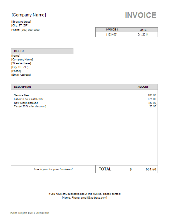 Download the Basic Invoice Template from Vertex42 – Invoice Forms Templates