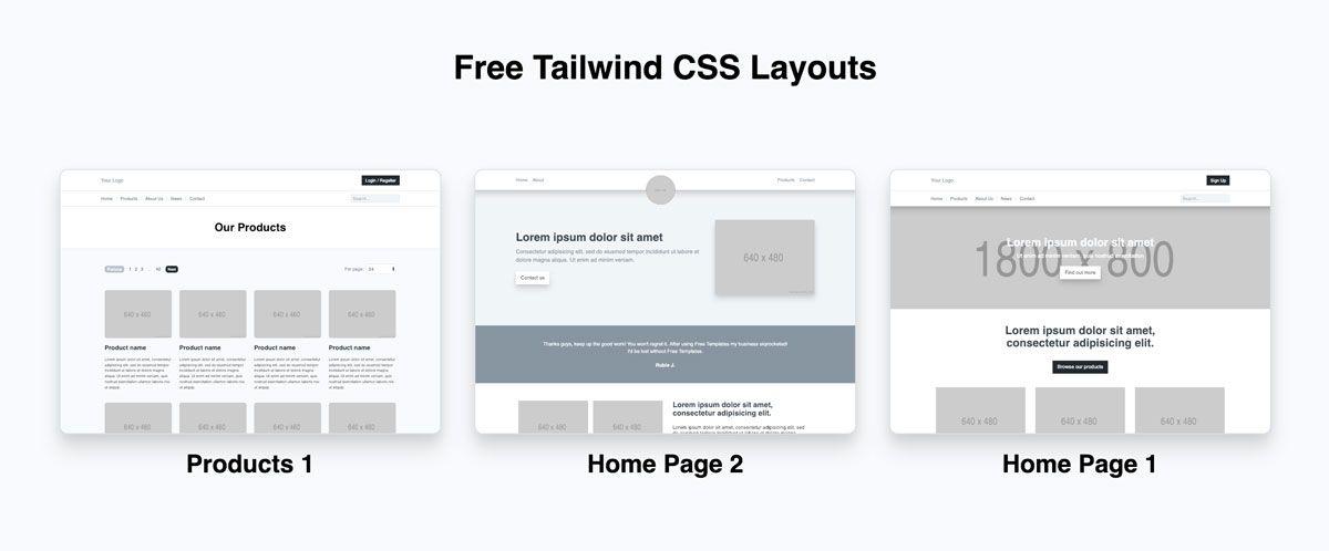 Free Layouts Templates Using The Tailwind Css Framework Ross Mcneil Web Development Design Layout Template Css Templates