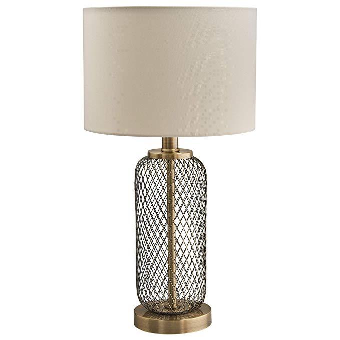Amazon Com Stone Beam Modern Metal Mesh Living Room Table Lamp With Light Bulb 10 X 10 X 19 Inches Antique Brass Table Lamps Living Room Lamp Table Lamp