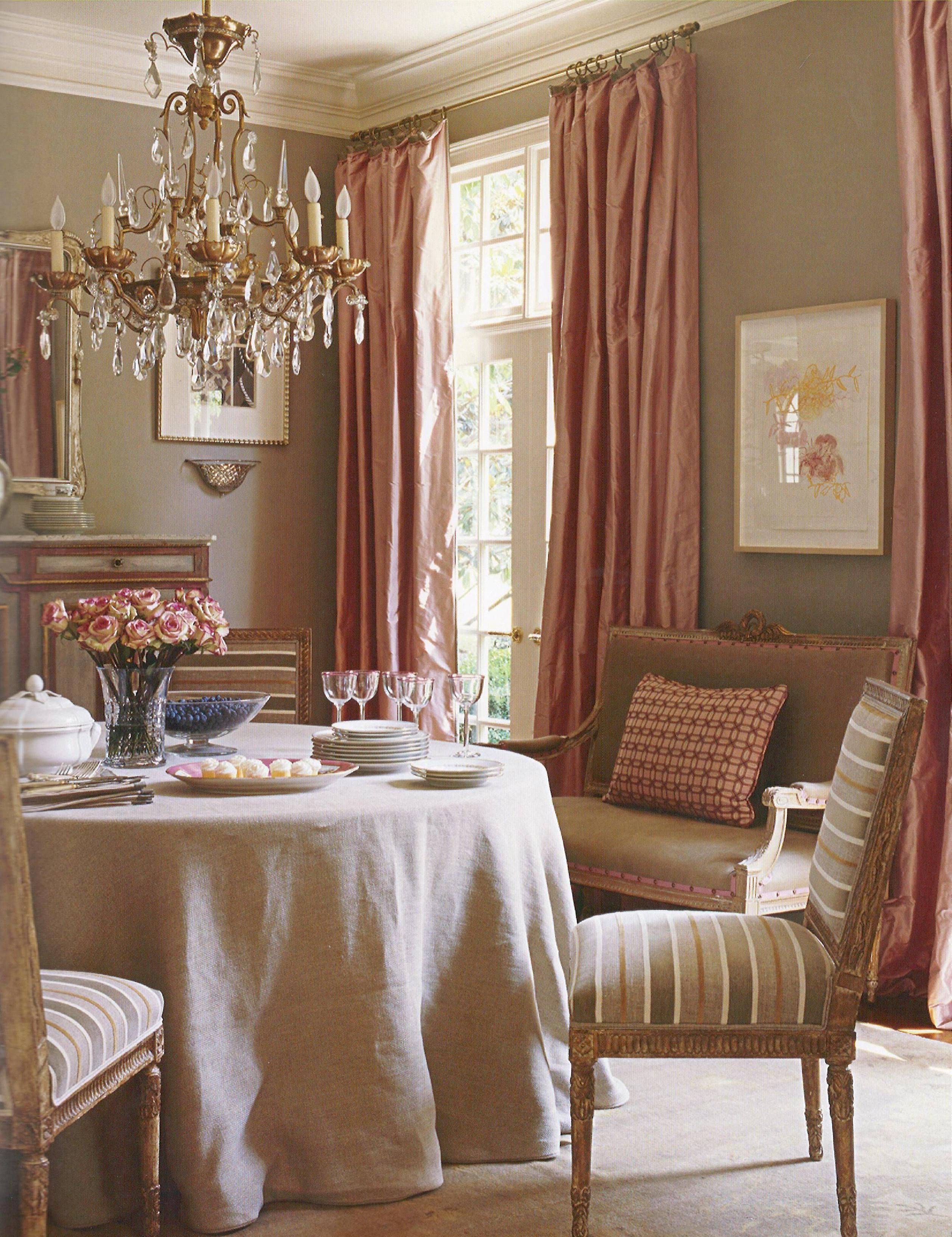 Traditional Dining Room Pink Curtains Very Classy