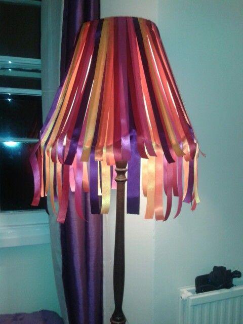 Upcycled ribbon standard lamp