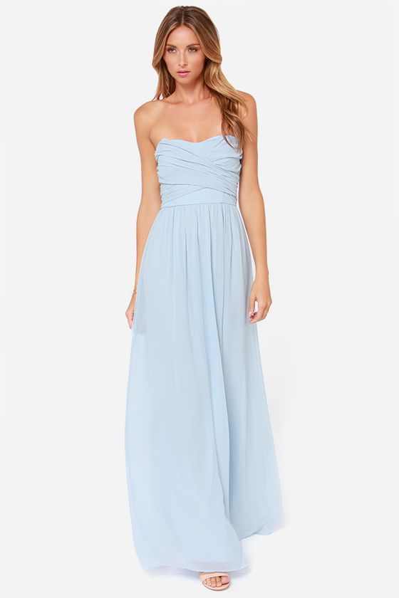 Exclusive Royal Engagement Strapless Light Blue Maxi Dress