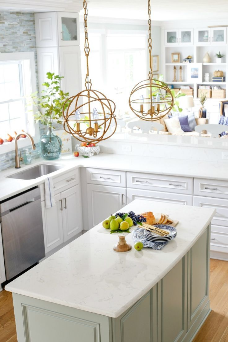 Navy and Neutral Fall Living Room Kitchen Tour Coastal Decor