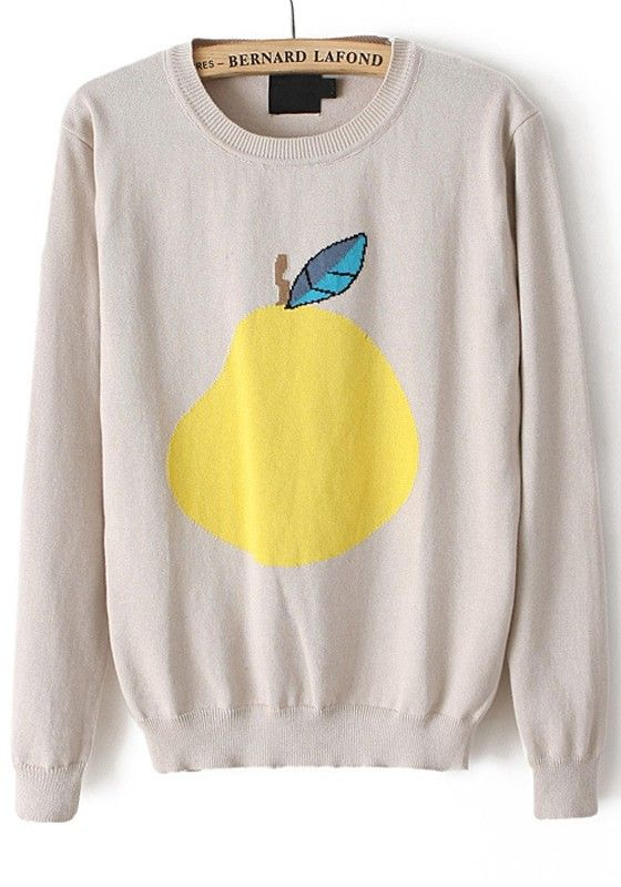 Beige Pear Print Round Neck Cotton Blend Sweater