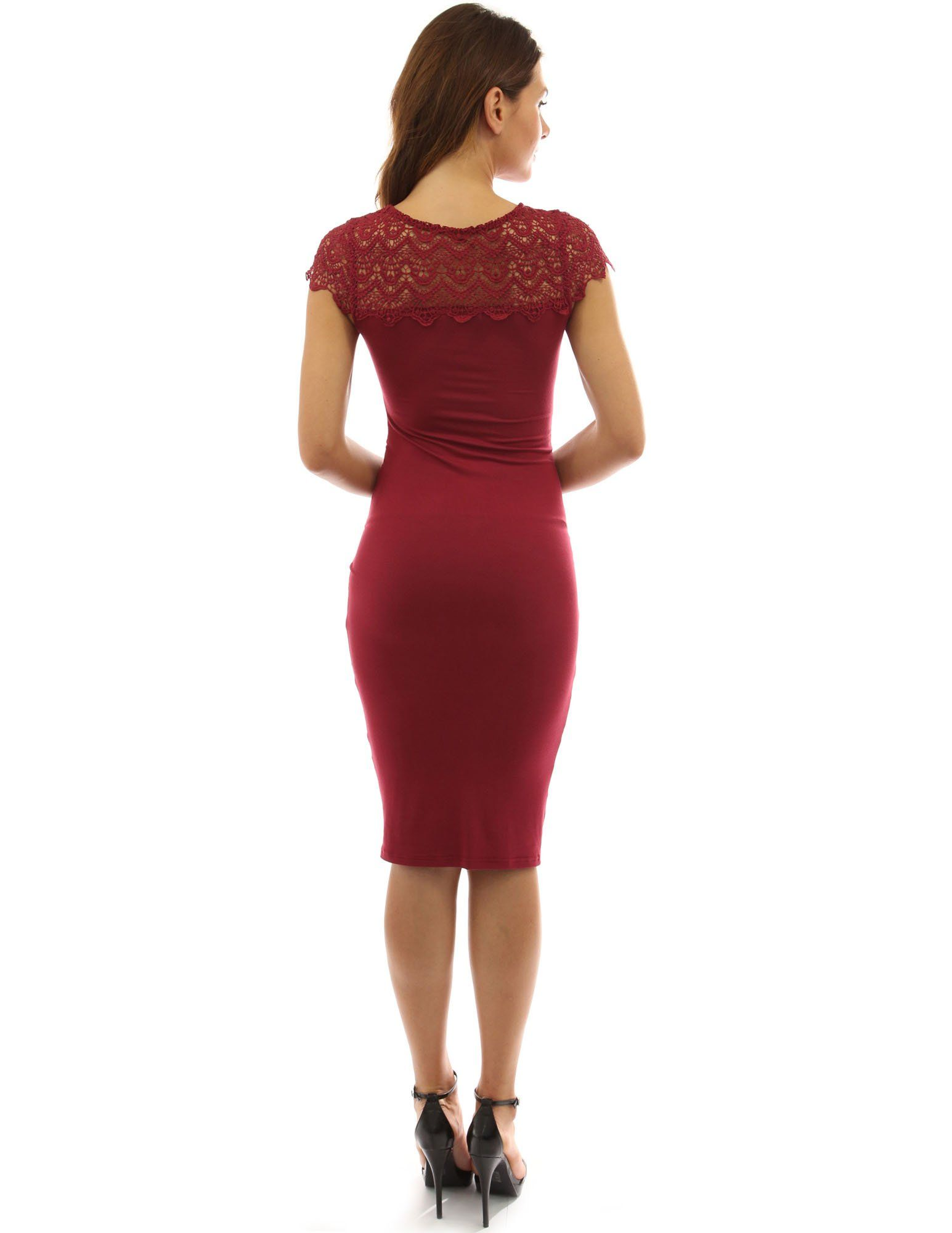 626f1b7207 PattyBoutik Mama Crewneck Crochet Lace Inset Ruched Sheath Dress Deep Red S      Learn more by visiting the image link. (This is an affiliate link)   ...