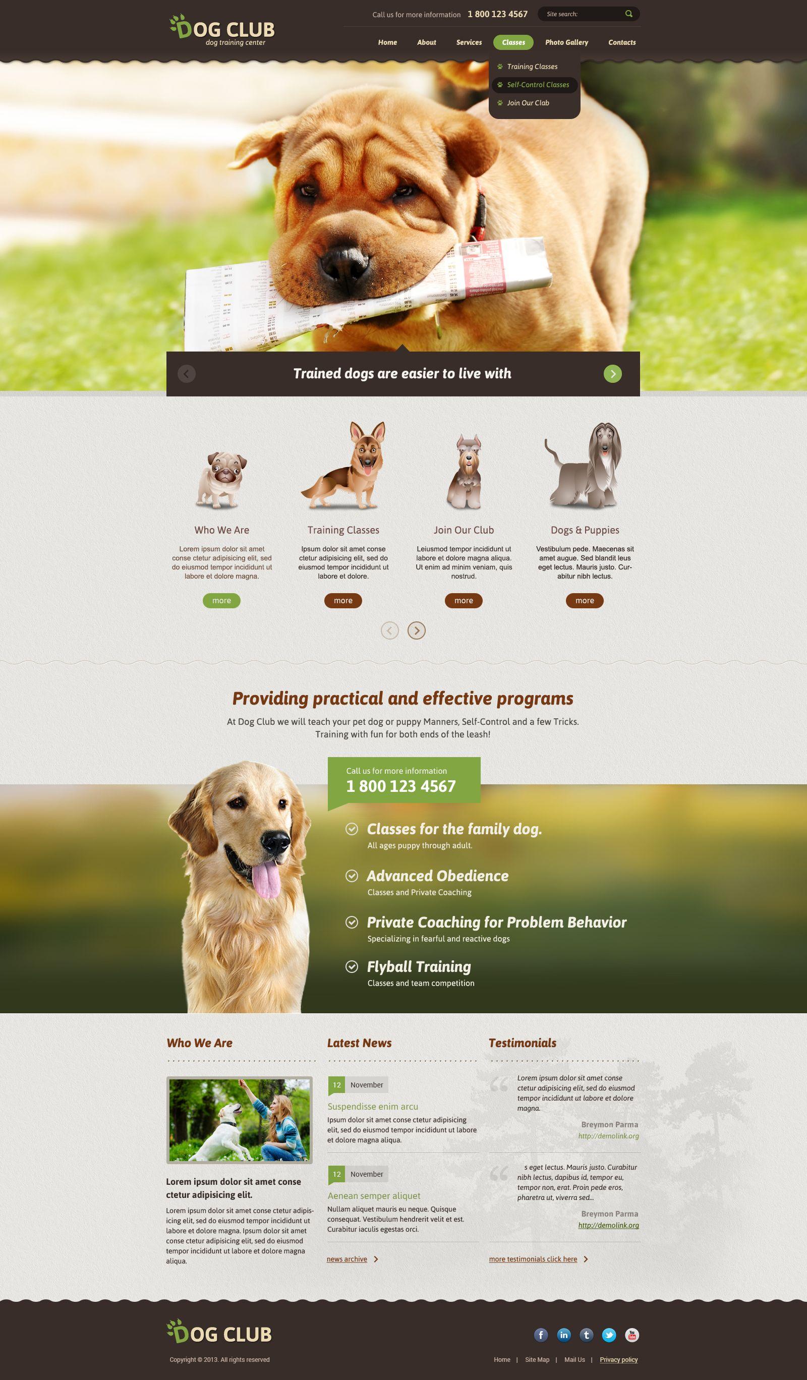 Dog Club Bootstrap Responsive Theme (Template)   sumía   Pinterest ...