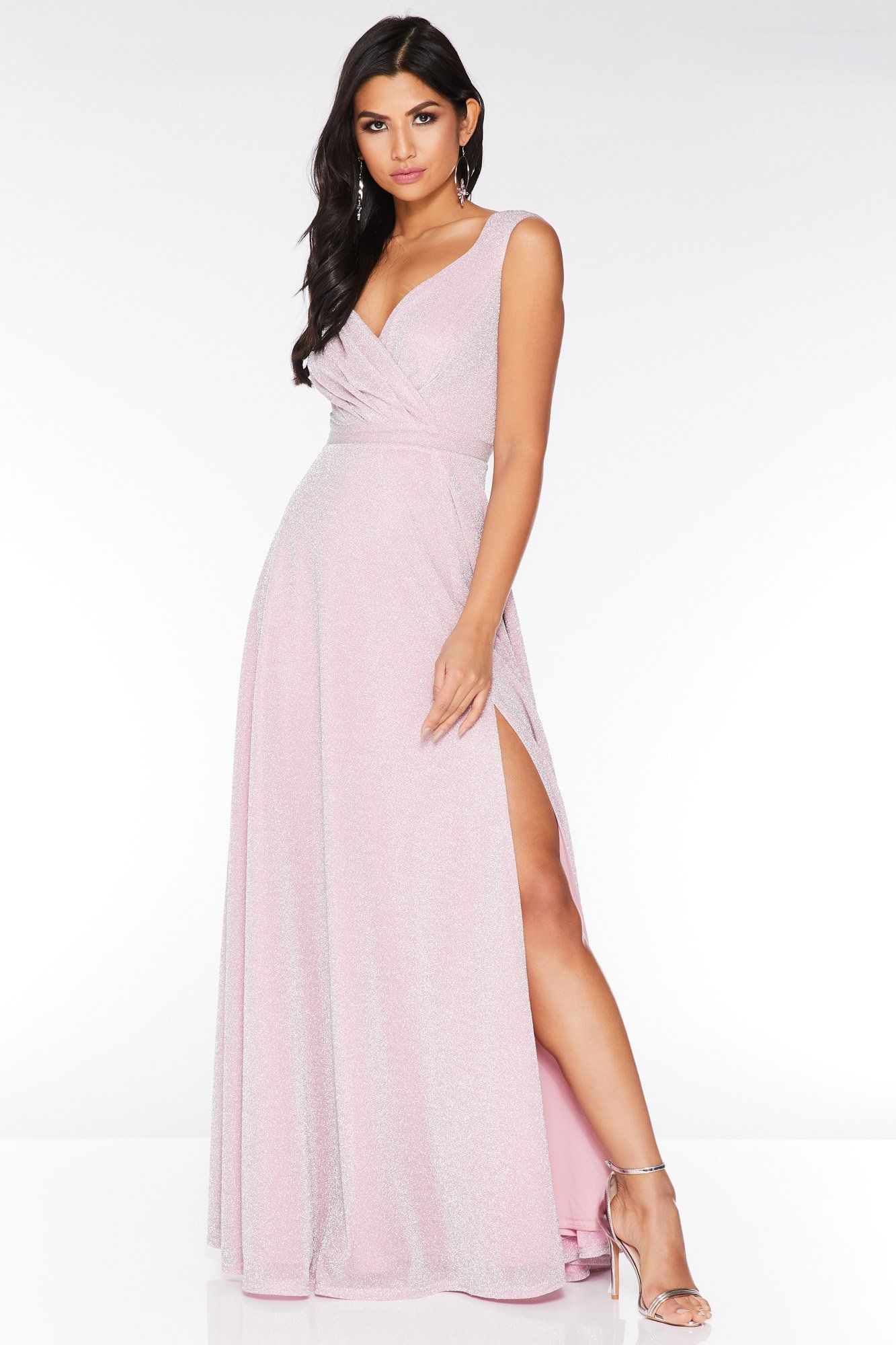 015a1f7997 Blush Pink Glitter Wrap Sleeveless Maxi Dress - Quiz Clothing