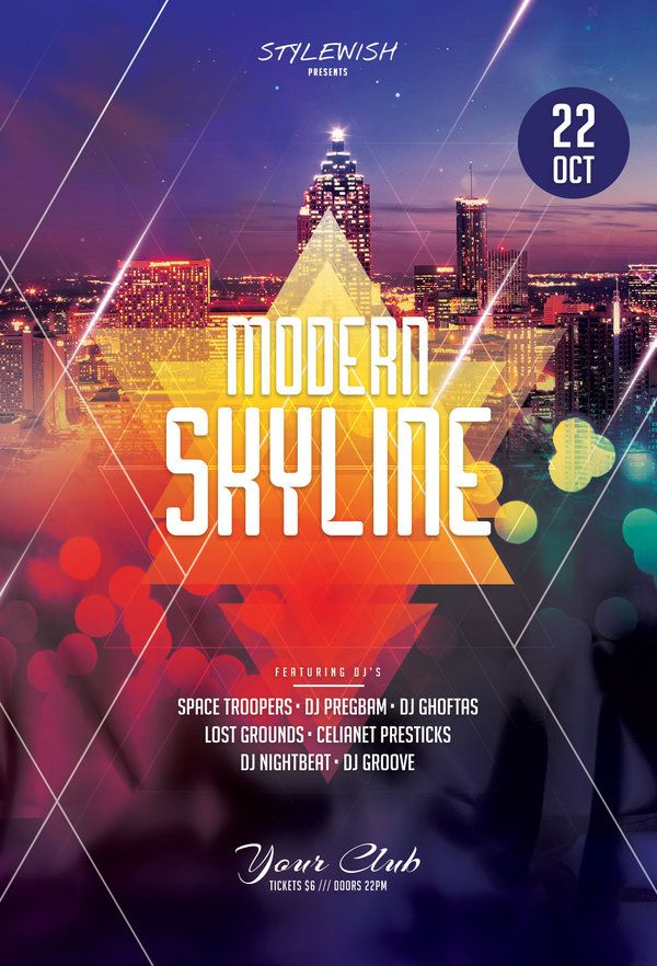 Modern Skyline Flyer by styleWish (Download PSD file)