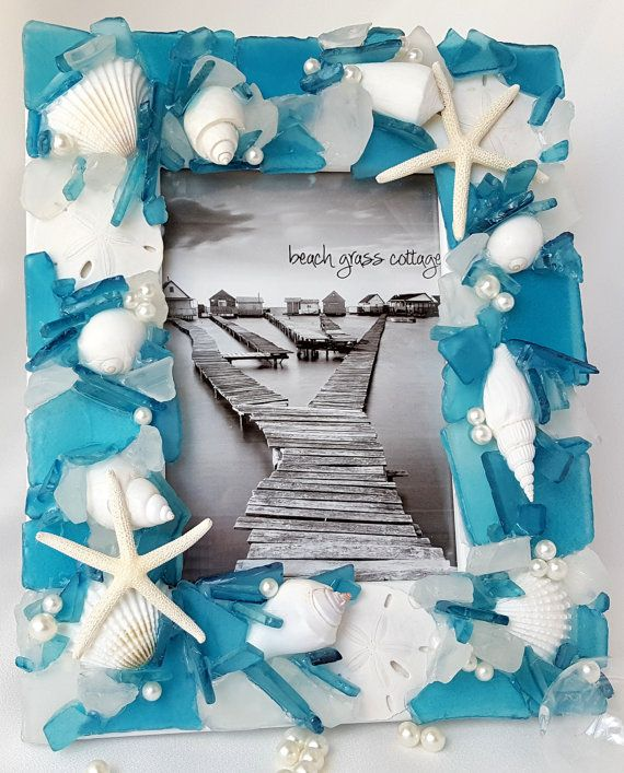Beach Decor Frame, Nautical Decor Sea Glass Frame, Beach Glass Frame ...