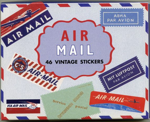 Stickers vintage airmail labels by onedaylongago on etsy 9 95