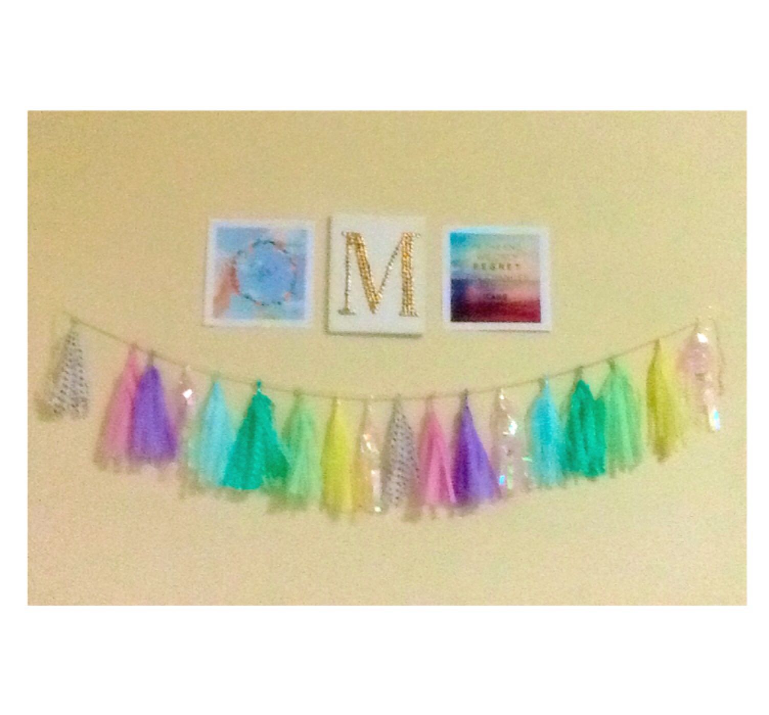 ✨So here is my diy tissue paper garland that only cost me $3 to make. Cute right?✨