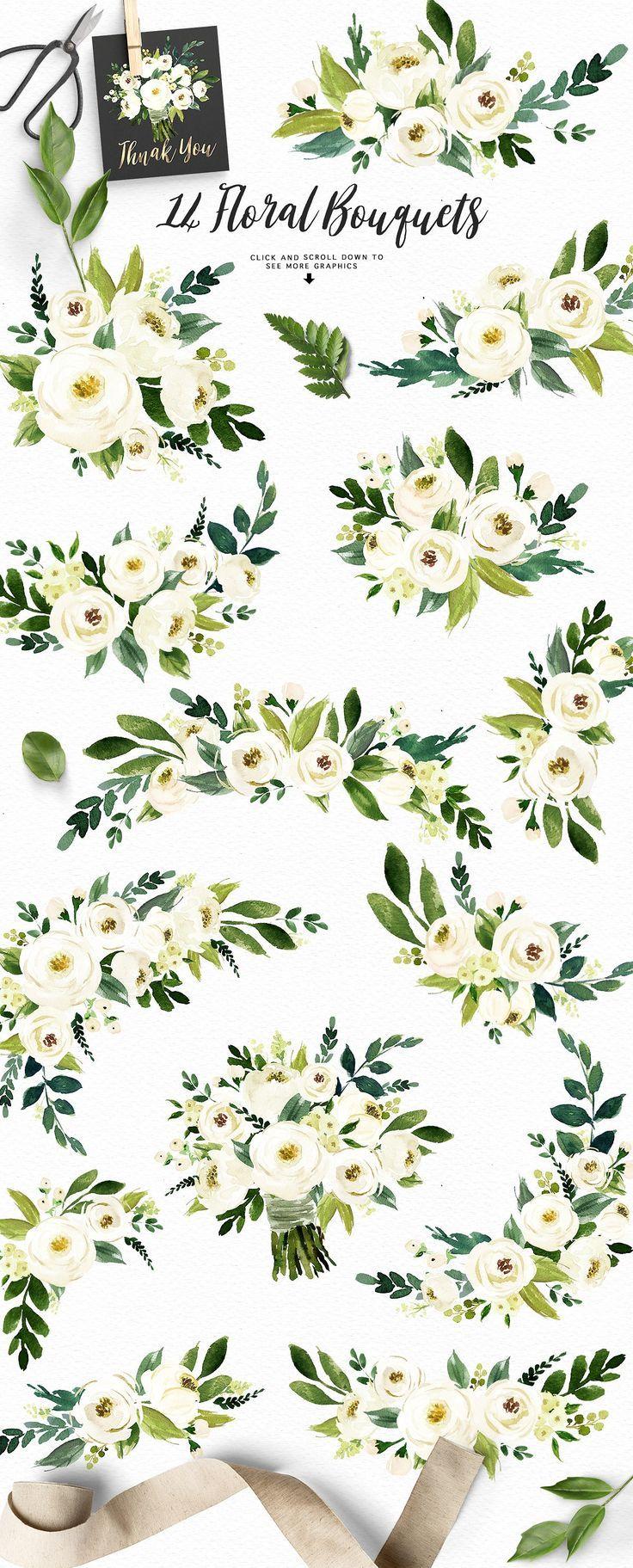 Watercolor White Flower Clip Art Pinterest Hand Drawn Clip Art