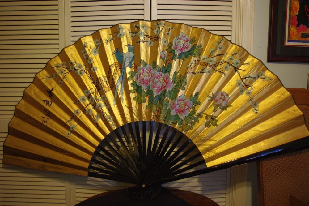 34 Chinese Oriental Asian Hand Painted Folding Wall Fan Hanging Decor Asian Wall Fans Wall Sculptures Folding Walls