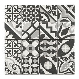 Mosaique Carreaux De Ciment Blanc Noir 7 X 7 Cm Carreaux Ciment Ciment Blanc Et Carreau