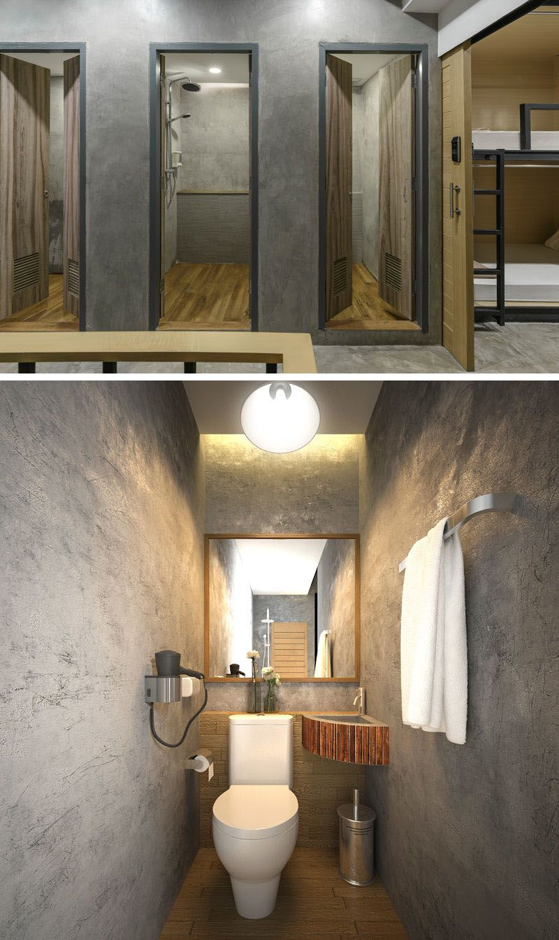 The Bathrooms In This Modern Hostel Can Be Found On Each Floor And They Are Minimal Their Design With Wood Doors Concrete Walls