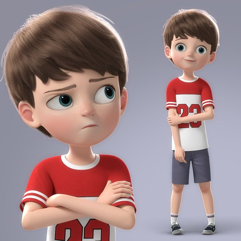 Cartoon Boy Rigged 3d Model Cute Cartoon Boy Baby Cartoon