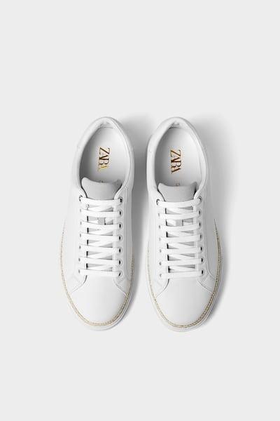 Zara Male White Sneakers With Jute Trim Soles White 10 White Plimsolls White Sneakers Sneakers