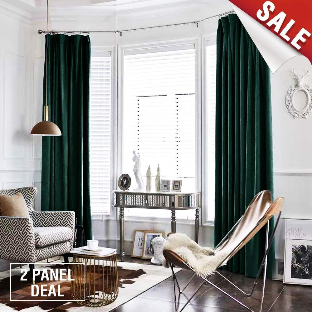 Amazon Com Jinchan Velvet Curtains Half Blackout Panels Room Darkening Drapes For Bedroom Window Curtains