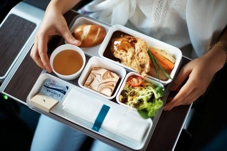 Dinner on longhaul premium economy class inflight meal