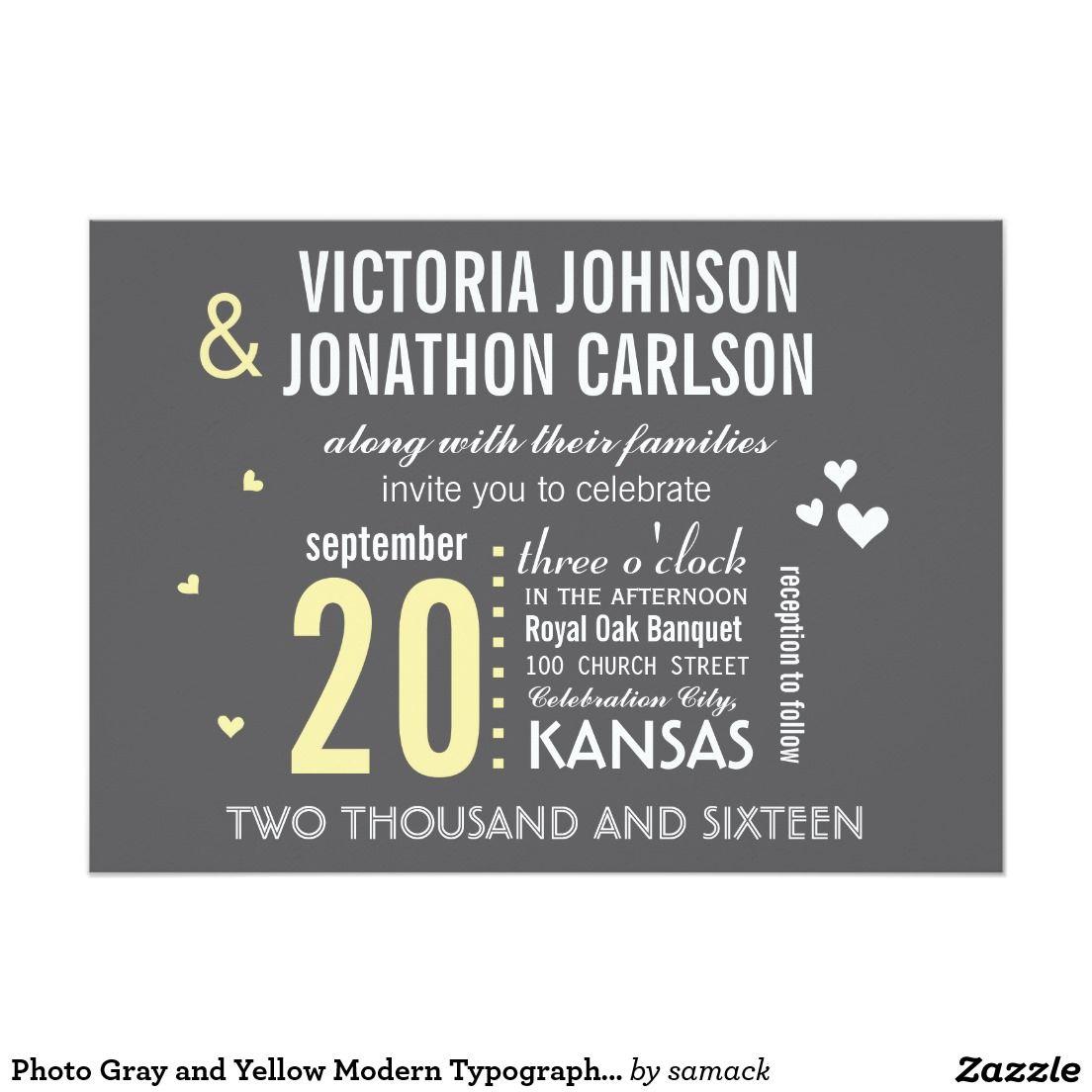 Foto Graue Und Gelbe Moderne Typografie Hochzeit 12 7 X 17 8 Cm