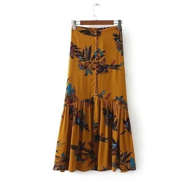 0fe9c42d4d New summer women vintage elegant floral print long skirts beach party  highmodkily
