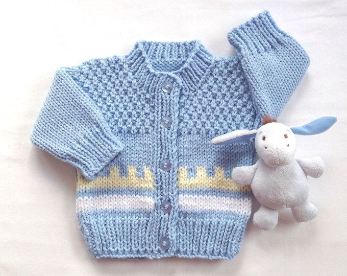 7f162f189 Baby boy cardigan - 0 to 6 months boy - Baby hand knit sweater with ...