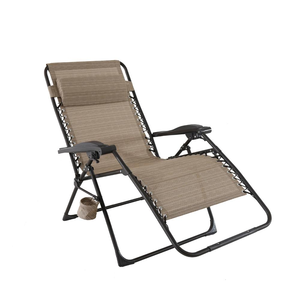 Hampton Bay Mix And Match Oversized Zero Gravity Sling Outdoor Chaise Lounge Chair In Caf Outdoor Chaise Lounge Chair Lounge Chair Outdoor Folding Lounge Chair