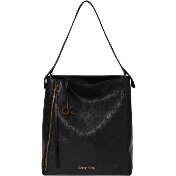 Calvin Klein Crystal Hobo Bag , Black ($195) ❤ liked on Polyvore featuring bags, handbags, shoulder bags, black, slouchy shoulder bag, hobo hand bags, shoulder handbags, slouchy hobo shoulder bag and calvin klein purse