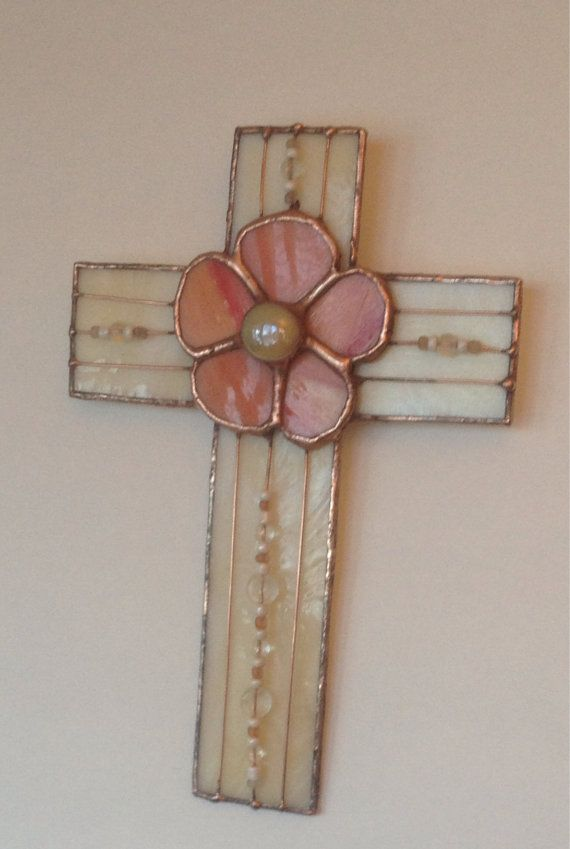 Cross Ivory Stained Glass Wall Hanging with Pink by StewArtStuff
