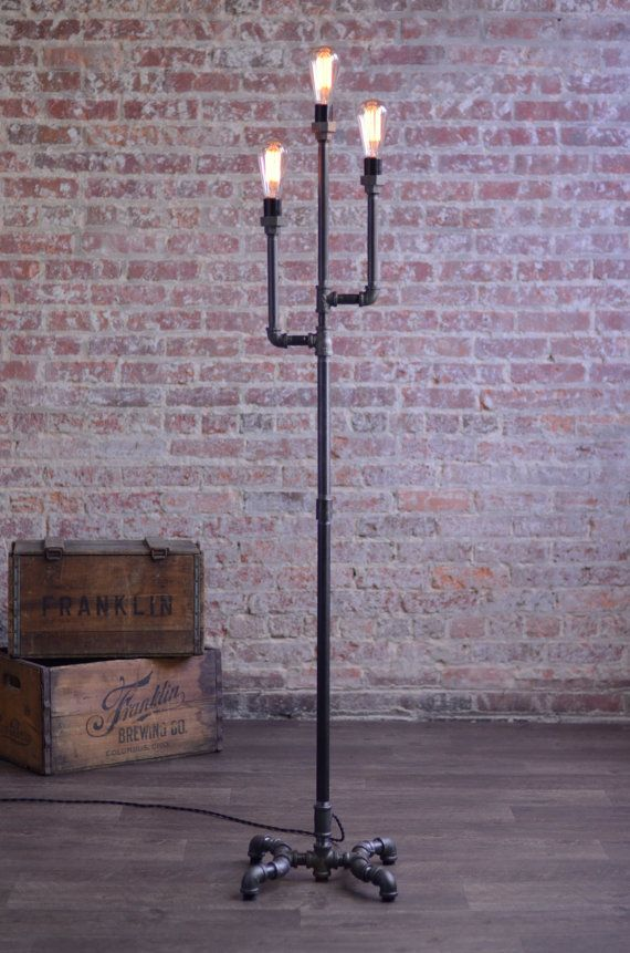 Pipe Floor Lamp   Industrial Floor Lamp   Edison Bulb Lamp   Gothic Floor  Lamp   Steampunk Lamps