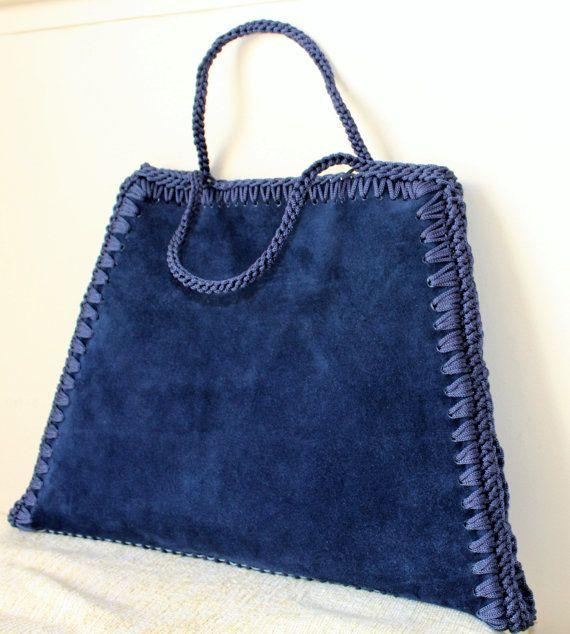 Blue suede bag, Suede handbag, Minimalist handbag, Woman accessory ...