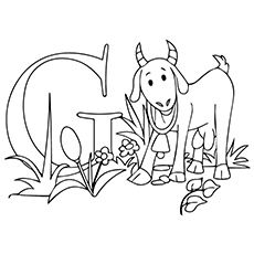 Cute Goat Coloring Flower Pages