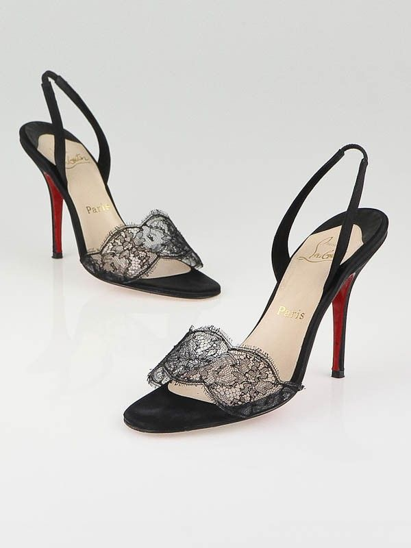best service fa797 4688c Christian Louboutin Black Satin and Lace Vive La Mariee ...