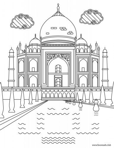 The Best Free Adult Coloring Book Pages Taj Mahal Drawing